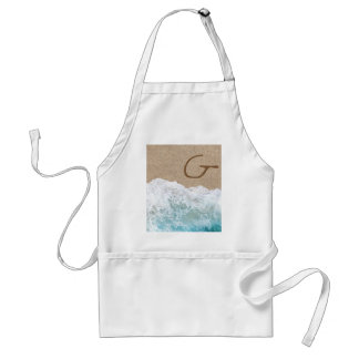 LETTERS IN THE SAND G ADULT APRON