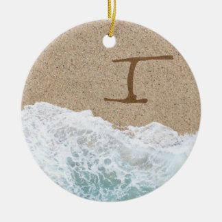 LETTERS IN THE SAND I Double-Sided CERAMIC ROUND CHRISTMAS ORNAMENT