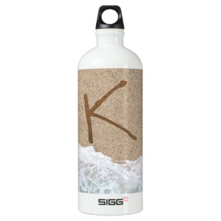 LETTERS IN THE SAND K ALUMINUM WATER BOTTLE