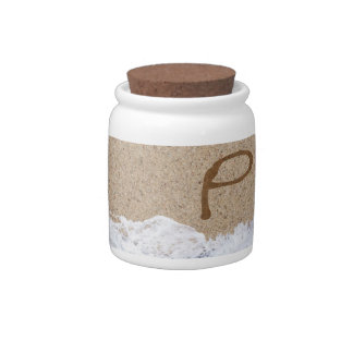 LETTERS IN THE SAND P CANDY JARS