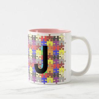 Letters - J - Jigsaw Two-Tone Coffee Mug
