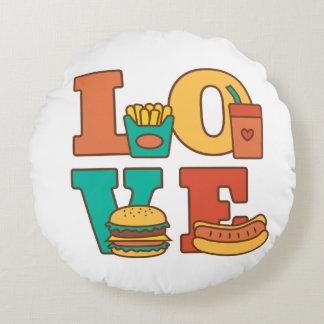 Letters Love Junk Food Room Décor Round Pillow