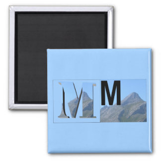 Letters - M - Mountain 2 Inch Square Magnet