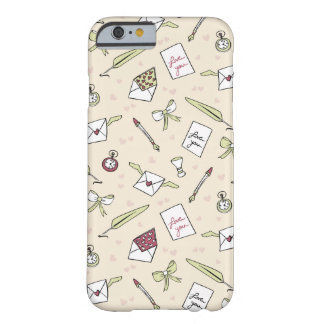 Letters of love with wings, bows, clocks and pens barely there iPhone 6 case