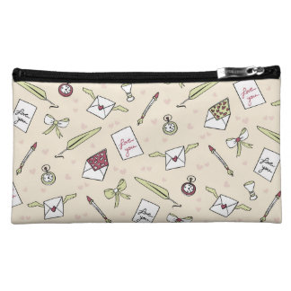 Letters of love with wings, bows, clocks and pens cosmetic bag