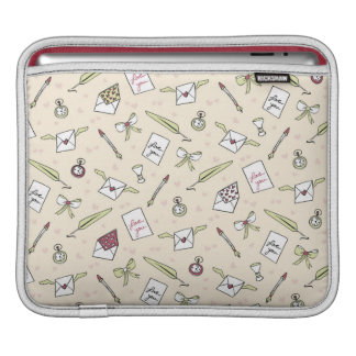 Letters of love with wings, bows, clocks and pens iPad sleeve