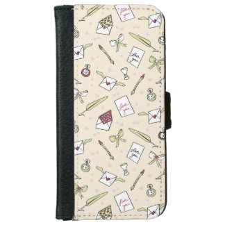 Letters of love with wings, bows, clocks and pens iPhone 6 wallet case