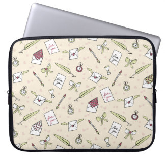 Letters of love with wings, bows, clocks and pens laptop sleeve