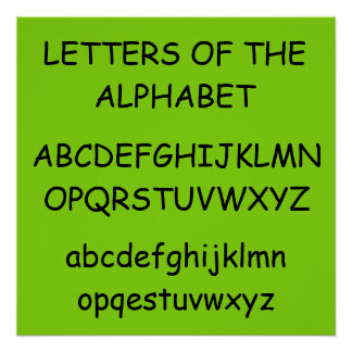 Letters of the Alphabet Green Poster by Janz