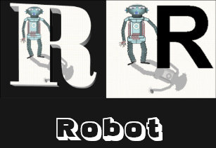 letters r robot t shirt