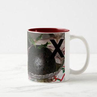 Letters - X - Xmas Pudding Two-Tone Coffee Mug