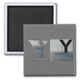 Letters - Y - Yacht 2 Inch Square Magnet