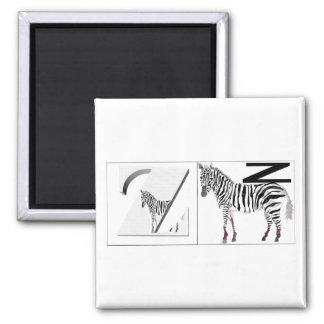 Letters - Z - Zebra 2 Inch Square Magnet