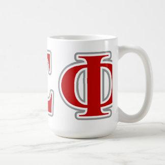 Lettes rojo y gris de la phi alfa de la sigma taza de café