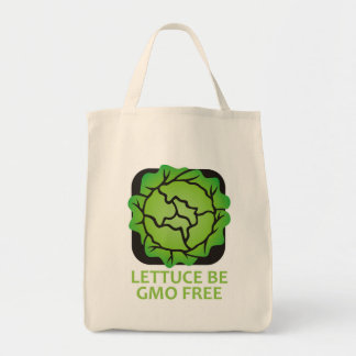 Lettuce Be Let Us Be GMO FREE Logo Tote