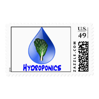 Lettuce blue text blue drop hydroponics design postage stamp