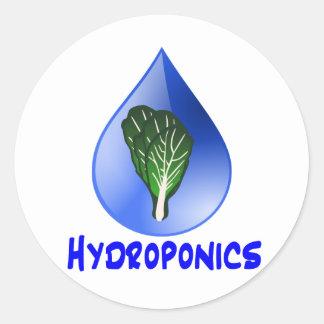 Lettuce blue text blue drop hydroponics design round sticker