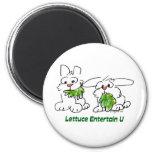 Lettuce Entertain U Cartoon Rabbits 2 Inch Round Magnet
