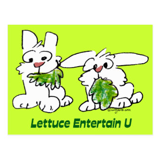 Lettuce Entertain U Cartoon Rabbits Postcard