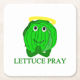 Lettuce Pray Square Paper Coaster