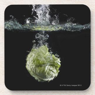 Lettuce splashing in water drink coaster