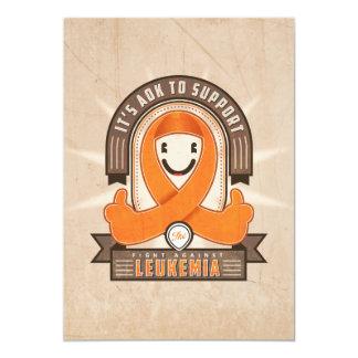 Leucemia - cinta retra de la caridad - tarjeta invitación 12,7 x 17,8 cm