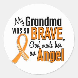 Leucemia de la abuela del ángel etiqueta redonda