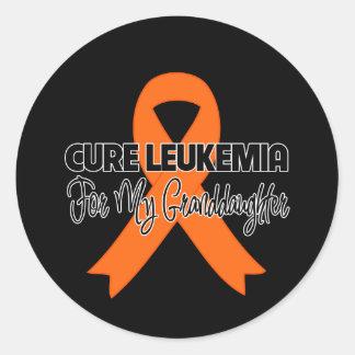 Leucemia de la curación para mi nieta pegatina redonda