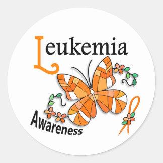 Leucemia de la mariposa 2 del vitral pegatina redonda
