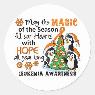 Leucemia de los pingüinos del navidad pegatina redonda