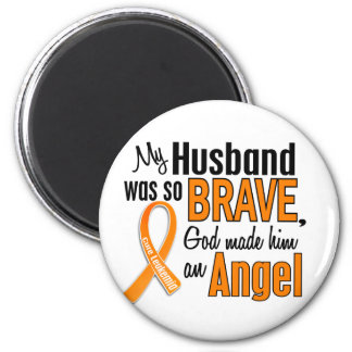 Leucemia del marido del ángel imán redondo 5 cm