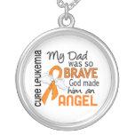 Leucemia del papá del ángel 2 pendientes personalizados