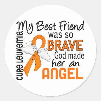 Leucemia (femenina) del mejor amigo del ángel 2 pegatina redonda