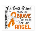 Leucemia (femenina) del mejor amigo del ángel 2 postal