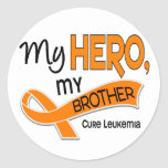 Leucemia MI HÉROE MI BROTHER 42 Pegatina Redonda