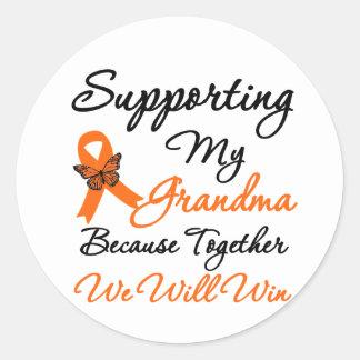 Leucemia que apoya a mi abuela pegatina redonda