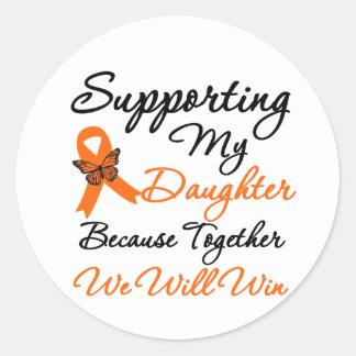 Leucemia que apoya a mi hija pegatina redonda