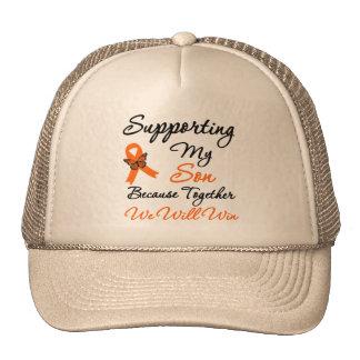 Leucemia que apoya a mi hijo gorro de camionero