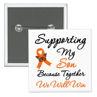 Leucemia que apoya a mi hijo pin cuadrada 5 cm