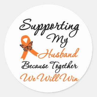 Leucemia que apoya a mi marido pegatina redonda