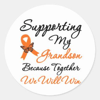 Leucemia que apoya a mi nieto pegatina redonda