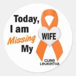 Leucemia que falta a mi esposa 1 pegatinas redondas