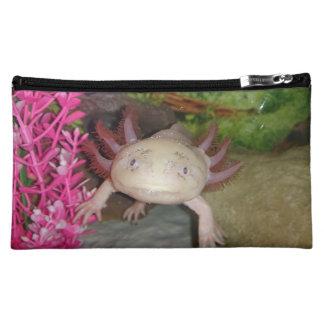 Leucistic axolotl cosmetic bag