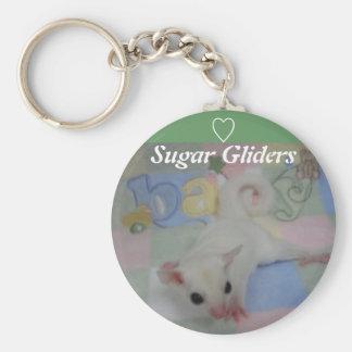 Leucistic Sugar glider white www.outbackgliders... Basic Round Button Keychain