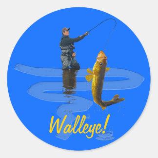 Leucomas que pescan el regalo que se divierte del etiqueta redonda