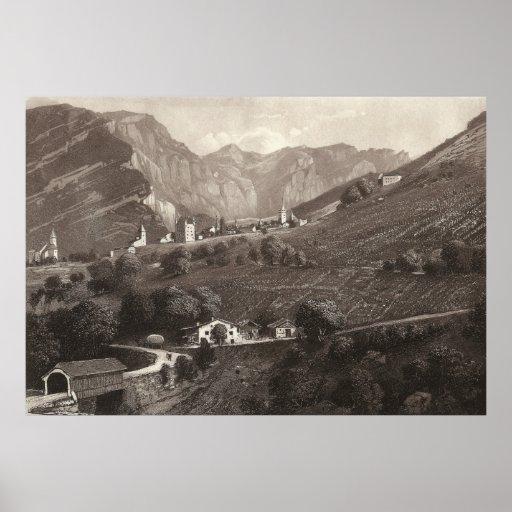 Leuk / Loèche Switzerland from Antique Print