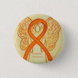 Leukemia Angel Orange Awareness Ribbon Art Pins