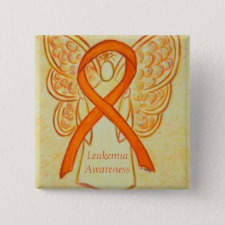 Leukemia Angel Orange Awareness Ribbon Art Pins