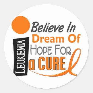 Leukemia Awareness BELIEVE DREAM HOPE Classic Round Sticker