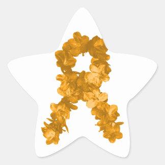 Leukemia Awareness Flower Ribbon Star Sticker